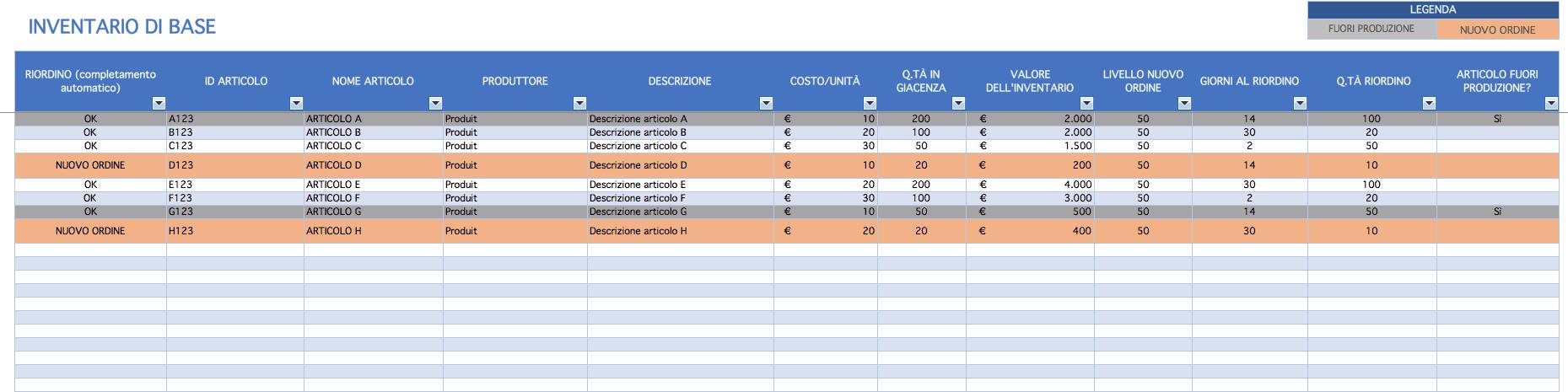 CONTROLLO GRATIS INVENTARIO MAGAZZINO SCARICARE