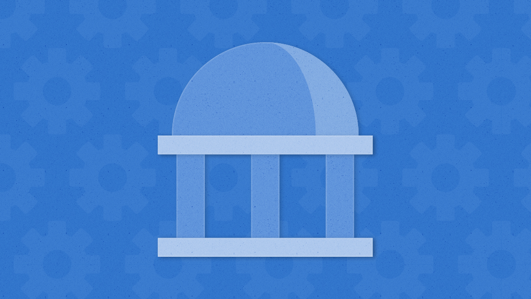 A light blue government rotunda appears on a dark blue background