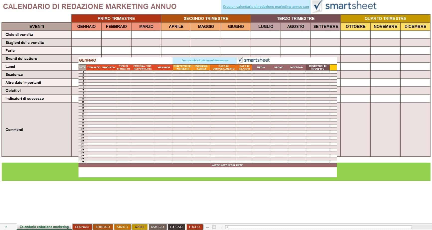 Calendario Anno 2018 Da Stampare.9 Modelli Di Calendari Di Marketing Gratuiti Di Excel