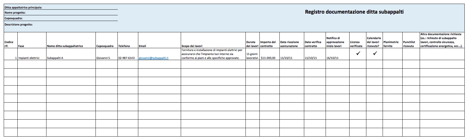 Modelli Excel Gratuiti Per Gestire Progetti Edilizi