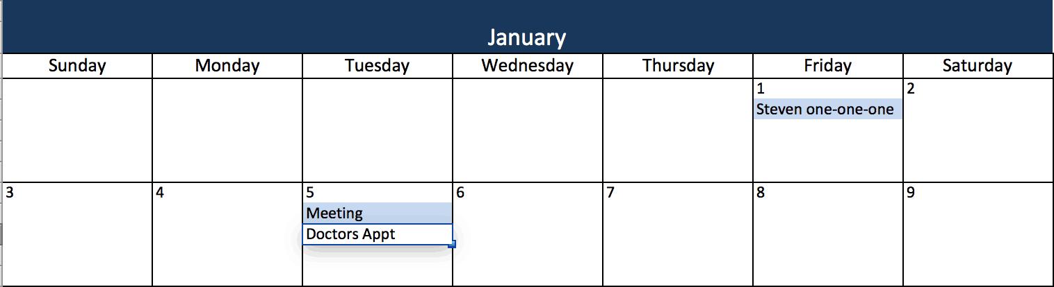 Calendario Solo Numeri.Modelli Di Calendario Excel Gratuiti E Stampabili Per Il