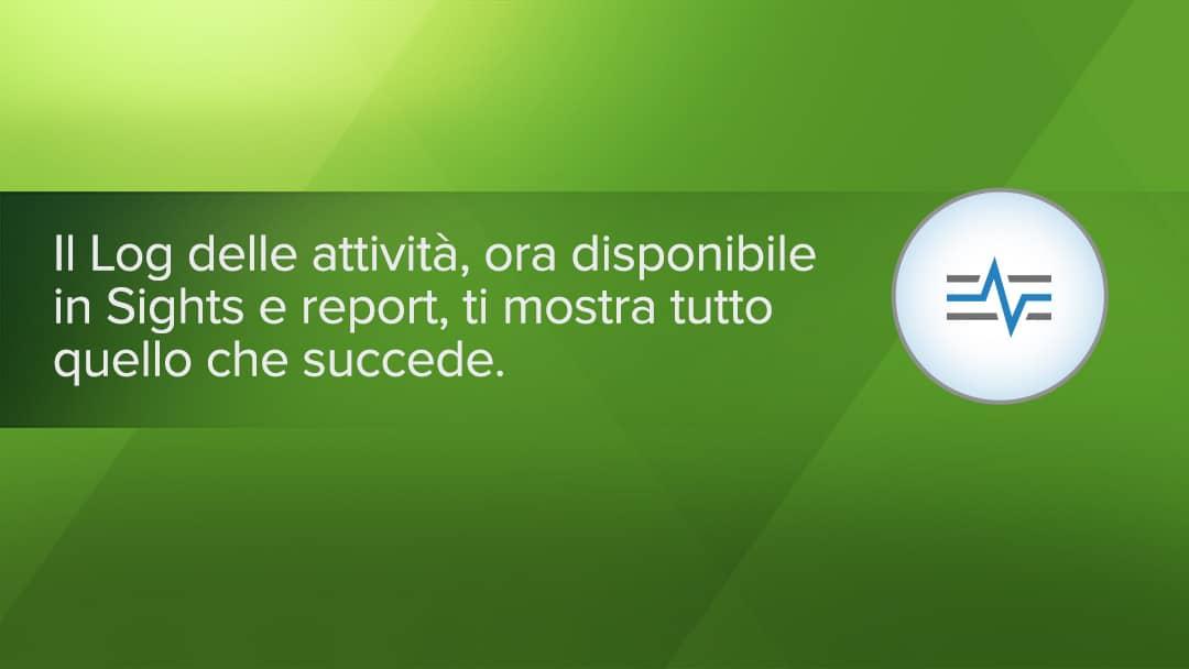Log delle attività in Sights e reporte in Smartsheet