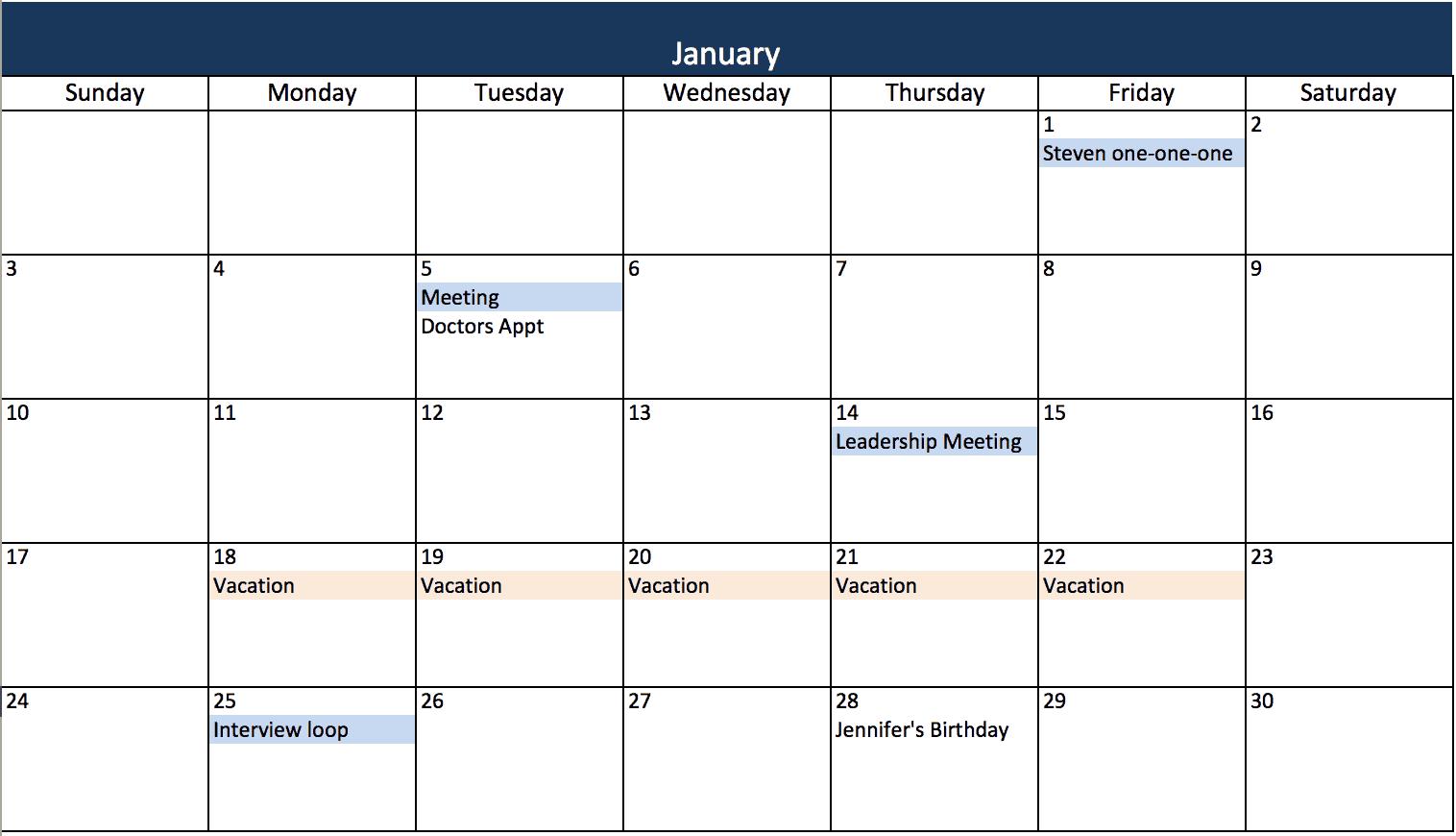 Modelli di calendario Excel gratuiti e stampabili per il 2019 e
